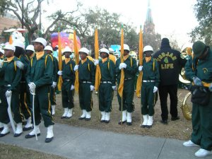 In 2007, students from all over the city join John McDonogh's marching unit, photograph taken by Elizabeth K. Jeffers